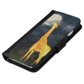 Giraffe and Moon   iPhone 6 Galaxy S6 Wallet Cases iPhone 6 Wallet Case
