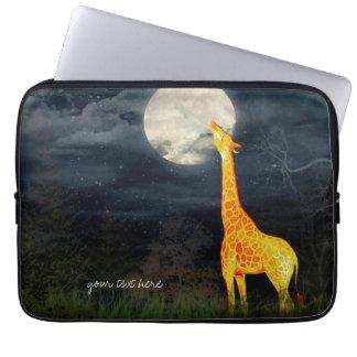 Giraffe and Moon   Neoprene Laptop Sleeves