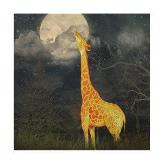 Giraffe and Moon | Wood Canvas
