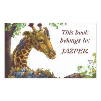Giraffe and Oxpeckers Bookplate sticker