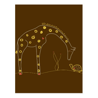 Giraffe and turtle on Brown and Yellow Postcards