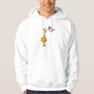 Giraffe and USA Flag Hoodie