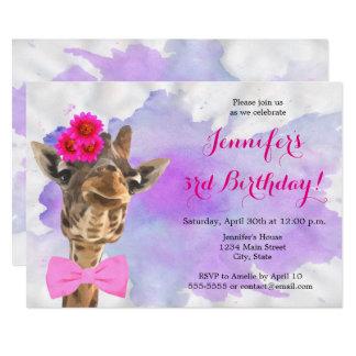 Giraffe animal jungle watercolor happy birthday card