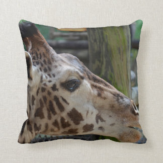 giraffe animal looking right head africa wildlife throw pillow