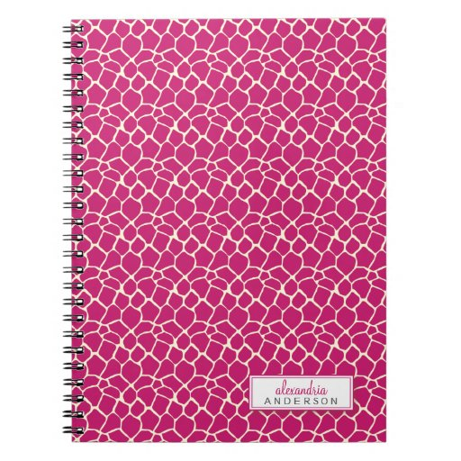 Giraffe Animal Pattern Custom Notebook (fuchsia)