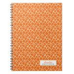 Giraffe Animal Pattern Custom Notebook (orange)