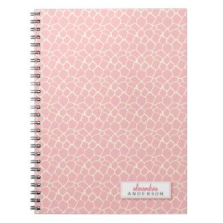 Giraffe Animal Pattern Custom Notebook (pink)