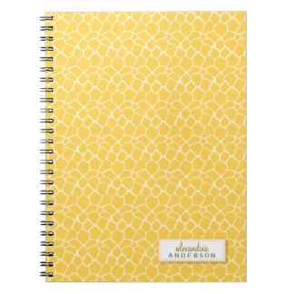 Giraffe Animal Pattern Custom Notebook (yellow)