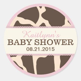 Giraffe Animal Print and Pink Baby Shower Label