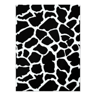 Giraffe Animal Print Black And White Design Card
