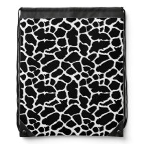 Giraffe Animal Print Black And White Design Drawstring Backpack