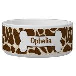Giraffe Animal Print Pattern Food Dish Customized Pet Bowl