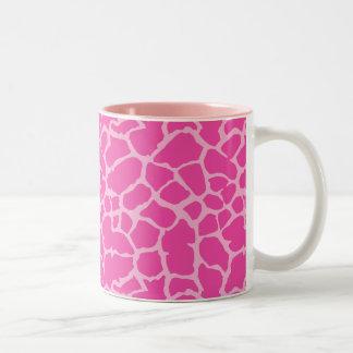 Giraffe Animal Print Pink Magenta Design Two-Tone Coffee Mug