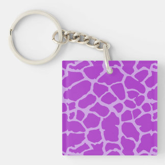 Giraffe Animal Print Purple Lavender Design Single-Sided Square Acrylic Keychain