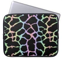 Giraffe Animal Print Rainbow And Black Design Laptop Sleeve