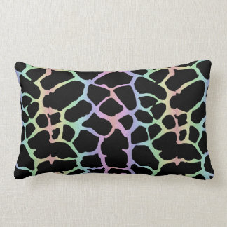 Giraffe Animal Print Rainbow And Black Design Lumbar Pillow