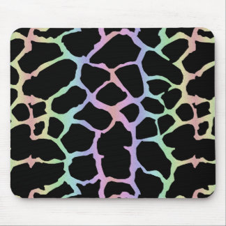 Giraffe Animal Print Rainbow And Black Design Mouse Pad