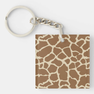 Giraffe Animal Print Tan Brown Design Double-Sided Square Acrylic Keychain