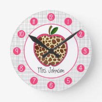 Giraffe Apple Personalized Clock For Teachers