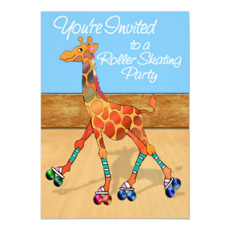 Giraffe at Roller Rink Party 5x7 Paper Invitation Card