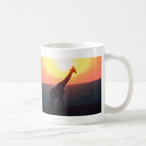 Giraffe at Sunset Classic White Coffee Mug