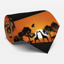 Giraffe at sunset neck tie