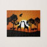 Giraffe at sunset puzzles