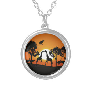 Giraffe at sunset silver plated necklace