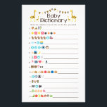 """Giraffe Baby Books Emoji Pictionary Shower Game Flyer<br><div class=""""desc"""">A adorable giraffe &quot;Baby Books Emoji Pictionary&quot; game. A modern and fun shower game for your guests. If you need an ANSWER KEY, the answers can be found on my Zazzle store home page under media (located on the right side of the page): https://www.zazzle.com/paperpassiondesigns. Many thanks to Emojione: Emoji artwork...</div>"""