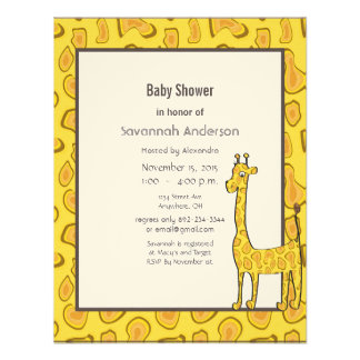 Giraffe Baby Boy Shower Invitation