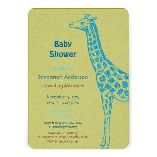 giraffe baby boy shower invitations 5 x 7 invitation card zazzle