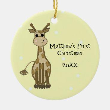 Toddler & Baby themed Giraffe Baby First Christmas Ceramic Ornament