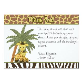 Giraffe Baby Mommy Baby Shower Thank You card FLAT