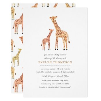 Giraffe Baby Shower Card by origamiprints at Zazzle
