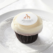 Giraffe Baby Shower Edible Frosting Rounds