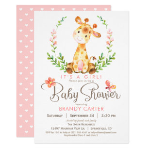 Great Giraffe Baby Shower, Girl Invitation