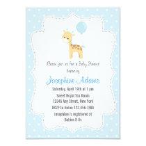 Giraffe Baby Shower Invitation Blue