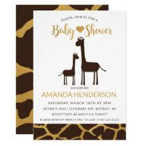 Giraffe Baby Shower Invitation Brown & Gold