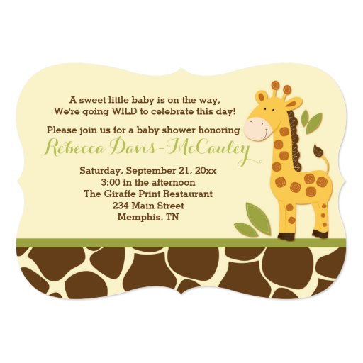 Giraffe Baby Shower Invitation Gender Neutral