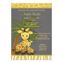 Giraffe Baby Shower Invitation Mommy Gray Yellow