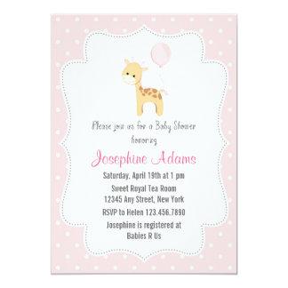 Giraffe Baby Shower Invitation Pink