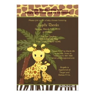 Giraffe Baby Shower Invitation Safari Jungle Mommy