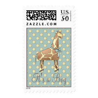 Giraffe Baby Shower Invitation Stamp (Boy)