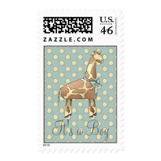 Giraffe Baby Shower Invitation Stamp (Boy) stamp