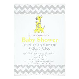 Giraffe Baby Shower Invitations Chevron