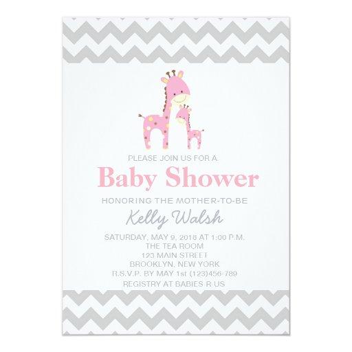 giraffe baby shower invitations chevron zazzle