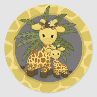Giraffe Baby Shower seal Mommy Gray Yellow Round Sticker