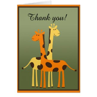 Giraffe Baby Shower Thank You Note Card