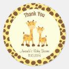 Giraffe Baby Shower Thank You Sticker Woodland