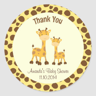 Giraffe Baby Shower Thank You Sticker Woodland